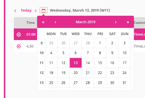 Easy date navigation with the calendar