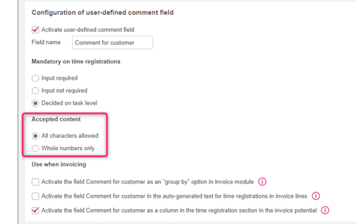Validation settings for user-defined comment field
